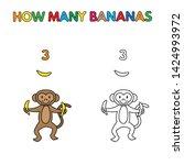 cartoon monkey counting bananas.... | Shutterstock . vector #1424993972