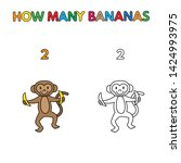 cartoon monkey counting bananas.... | Shutterstock . vector #1424993975