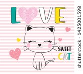 love and sweet cat slogan t... | Shutterstock .eps vector #1425001598