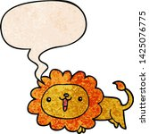 cute cartoon lion with speech... | Shutterstock .eps vector #1425076775