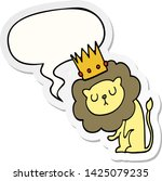 cartoon lion with crown with... | Shutterstock .eps vector #1425079235