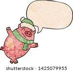 cartoon pig wearing christmas... | Shutterstock .eps vector #1425079955