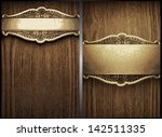 Vector Wood And Gold Background ...