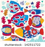 vector cartoon funny fishes.... | Shutterstock .eps vector #142511722