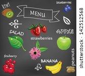 vector fruits on black... | Shutterstock .eps vector #142512568