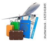 travel concept. airplane with... | Shutterstock . vector #1425141845