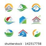 Stock vector eco house real estate logo green icons 142517758
