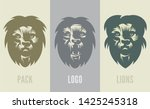 lion logo set   emblem design... | Shutterstock .eps vector #1425245318