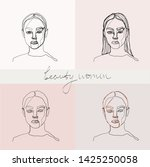 set of beauty woman portraits.  ... | Shutterstock .eps vector #1425250058