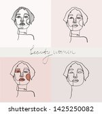set of beauty woman portraits.  ... | Shutterstock .eps vector #1425250082