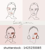 set of beauty woman portraits.  ... | Shutterstock .eps vector #1425250085