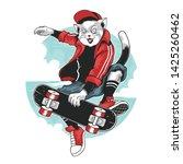 cat skateboard pop punk pop... | Shutterstock .eps vector #1425260462
