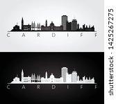 Cardiff skyline and landmarks silhouette, black and white design, vector illustration.
