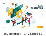 isometric banner with notebook... | Shutterstock . vector #1425385952