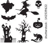 set of silhouette horror images ... | Shutterstock .eps vector #142539622