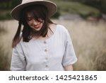 stylish girl in linen dress and ... | Shutterstock . vector #1425421865