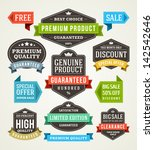 vector vintage sale labels and... | Shutterstock .eps vector #142542646