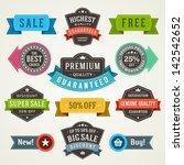 vector vintage sale labels and... | Shutterstock .eps vector #142542652