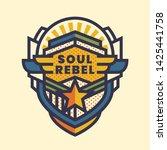 """soul rebel"" sticker design in... | Shutterstock .eps vector #1425441758"