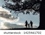 silhouette of family on the... | Shutterstock . vector #1425461702