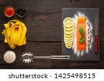 pasta with salmon ingredients... | Shutterstock . vector #1425498515