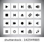 set of black media icons.... | Shutterstock .eps vector #142549885