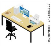 working place desk and armchair.... | Shutterstock .eps vector #1425501122