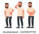 set of character men with pain... | Shutterstock .eps vector #1425537755