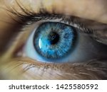 Beautiful Blue Eye In Macro.