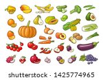 set vegetables and fruits.... | Shutterstock .eps vector #1425774965