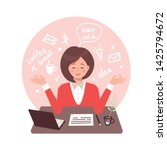 secretary woman meditates in...   Shutterstock .eps vector #1425794672