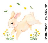 Stock photo cute forest rabbit with yellow flowers watercolor hand draw animals and floral element isolated on 1425807785