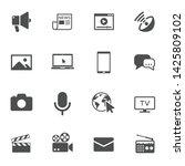 mass media vector icons set...