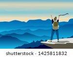 girl with backpack  traveller... | Shutterstock .eps vector #1425811832
