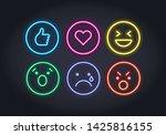 vector neon icon set for social ...