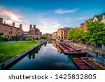 Cambridge City Canal At Sunset. ...