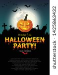 halloween party poster with... | Shutterstock .eps vector #1425863432