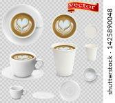3d realistic cappuccino coffee... | Shutterstock .eps vector #1425890048