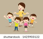 teacher and kids.childrens... | Shutterstock .eps vector #1425903122