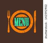 vintage menu label with grunge... | Shutterstock .eps vector #142592902