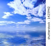 Wonderful sky blue cloudy seascape crystal clear water summer nature background - stock photo