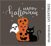 happy halloween greeting card... | Shutterstock .eps vector #1425970832