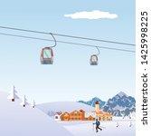 winter snowy landscape flat... | Shutterstock .eps vector #1425998225