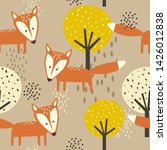 foxes  trees  hand drawn... | Shutterstock .eps vector #1426012838