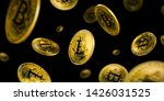 gold bitcoin coins flying on a... | Shutterstock . vector #1426031525
