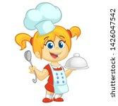 Cartoon Girl Holding A Tray...
