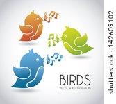 Birds Design Over Gray...