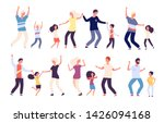 dancing parents with kids.... | Shutterstock .eps vector #1426094168