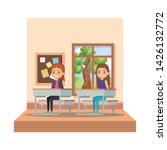 little students girls in school ... | Shutterstock .eps vector #1426132772