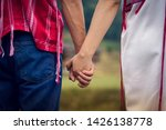 two girl holding hand and... | Shutterstock . vector #1426138778